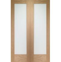 Internal Oak Pattern 10 Door Pair with Clear Glass