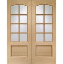 Internal Oak Park Lane Door Pair with Clear Bevelled Glass a