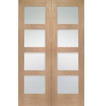Internal Oak Shaker Door Pair with Clear Glass