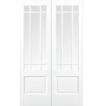 "LPD Doors ""Downham Glazed Pairs"" White Primed"