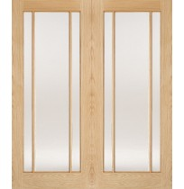 "LPD Doors ""Lincoln Glazed Pairs"" Unfinished Internal Oak"