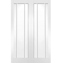 Internal White Primed Worcester Door Pair with Clear Glass