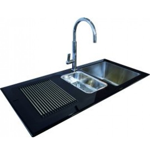 Discount diy Black glass sink